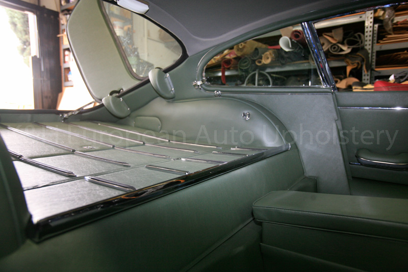 gallery jaguar e type s1 coupe green interior k h european auto upholstery. Black Bedroom Furniture Sets. Home Design Ideas