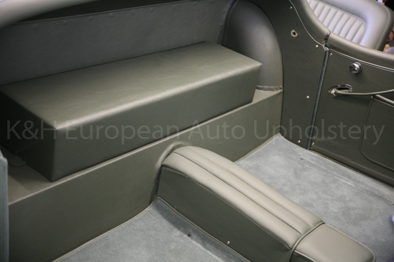 gallery jaguar xk120 rds suede green interior k h european auto upholstery. Black Bedroom Furniture Sets. Home Design Ideas