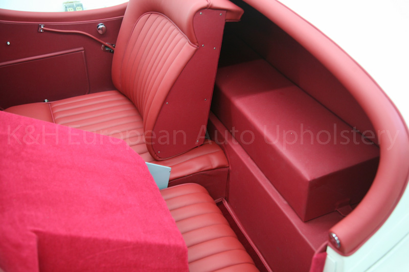 gallery jaguar xk120 red interior k h european auto upholstery. Black Bedroom Furniture Sets. Home Design Ideas