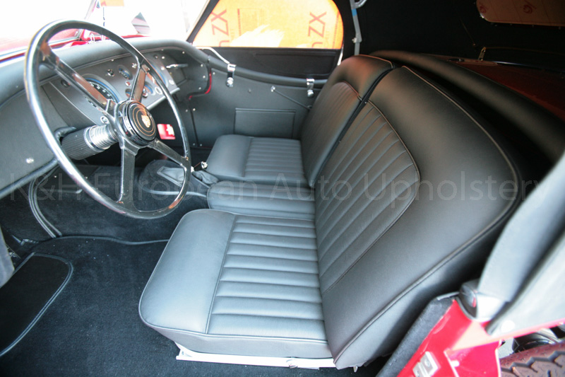 gallery jaguar xk140 rds black interior k h european auto upholstery. Black Bedroom Furniture Sets. Home Design Ideas